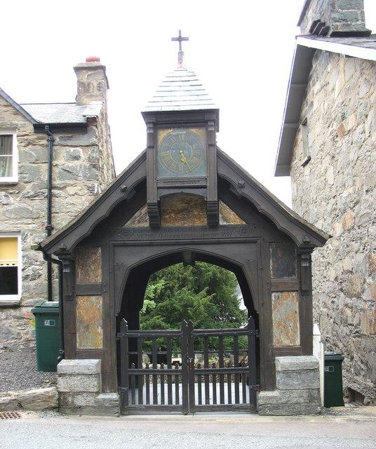 The ornate lych gate of Eglwys Twrog Sant