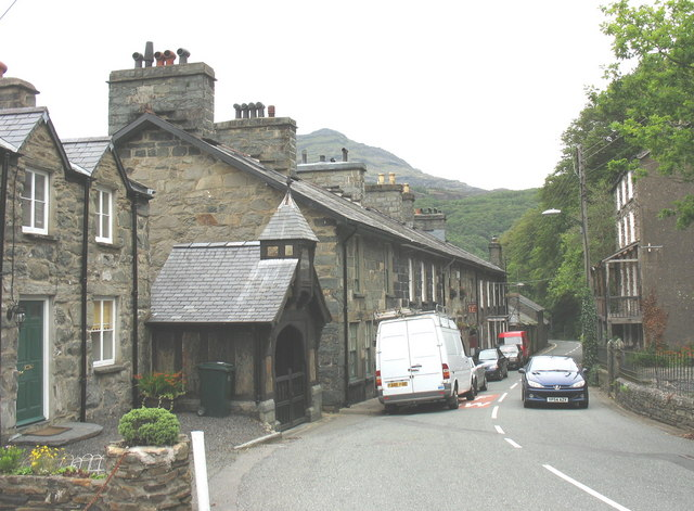 The north end of the main street (A496) of Maentwrog
