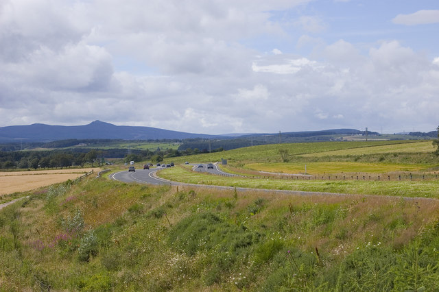 The A96 with Bennachie in the far distance