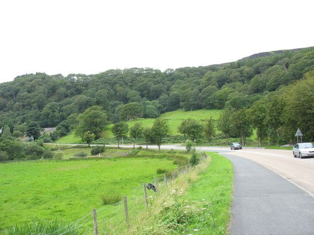 A bend in the A487 east of the Oakeley Arms