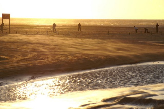 Beach cricket in the sunset at Ainsdale (with blowing sand)