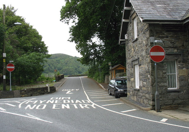 The south bound entry to the A496 below Pont Maentwrog