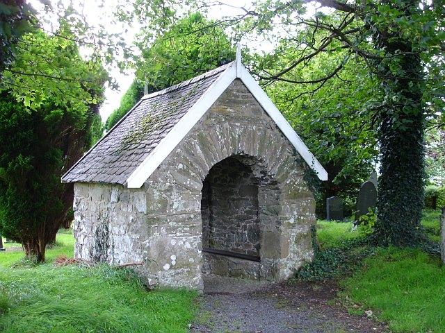 Stone lychgate, St Cadfan's church, Llangadfan