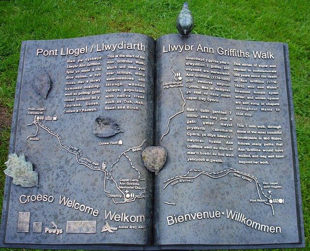Waymarker, Ann Griffiths Walk, Pont Llogel