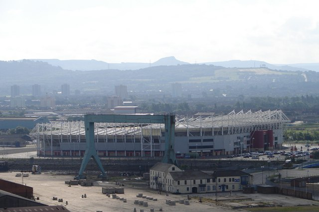 The Riverside Stadium seen from the Transporter Bridge.