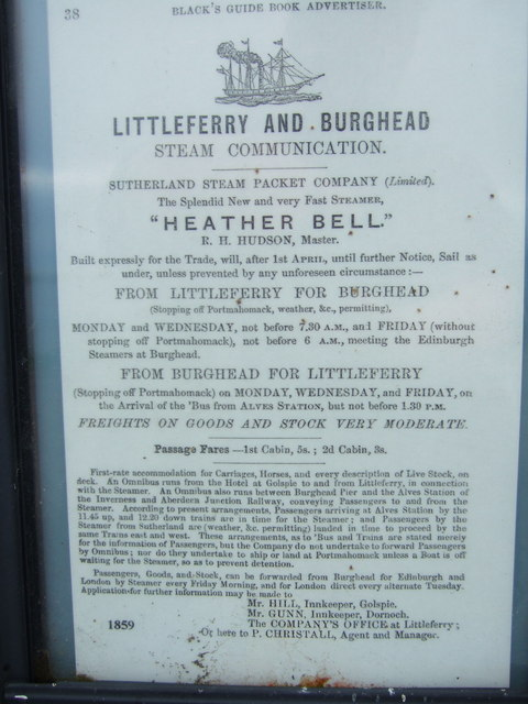 Advert for Steam Ship from Littleferry