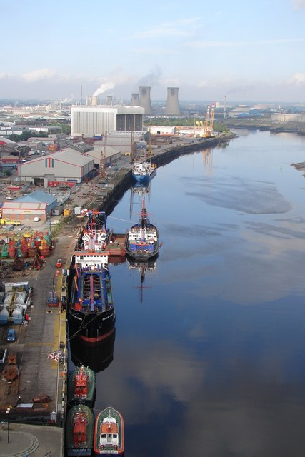 The Tees looking from the transporter bridge