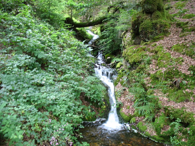 A waterfall on a minor tributary of Afon Prysor viewed from the path