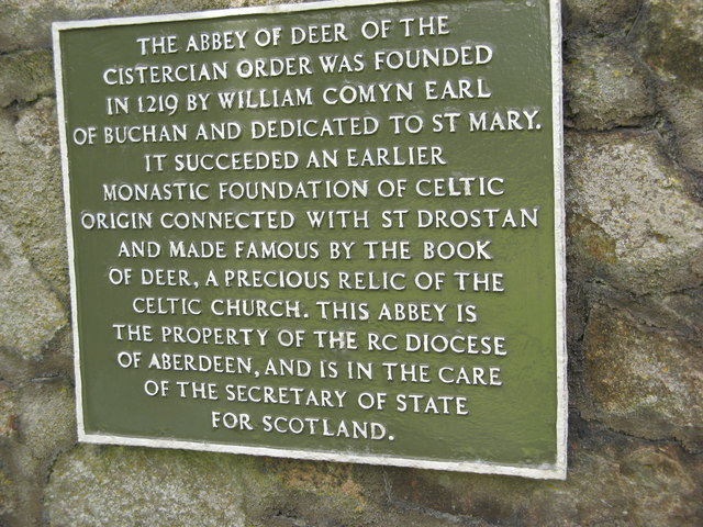 Deer Abbey Plaque