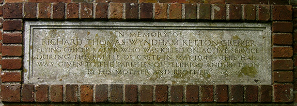 Memorial inscription over village hall entrance, Felbrigg