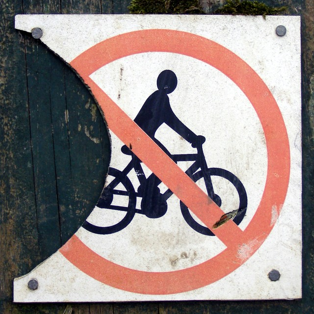 No cycling sign, Denny Lodge Inclosure, New Forest