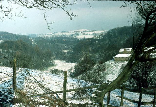 Bearda Farm valley of River Dane Winter 1976