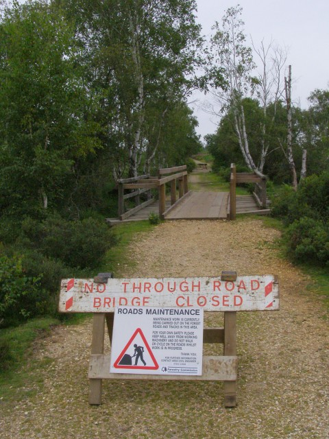 Bridge temporarily closed, Woodfidley Passage, New Forest