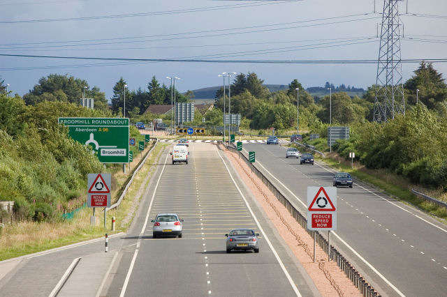 The A96 just north of Broomhill roundabout