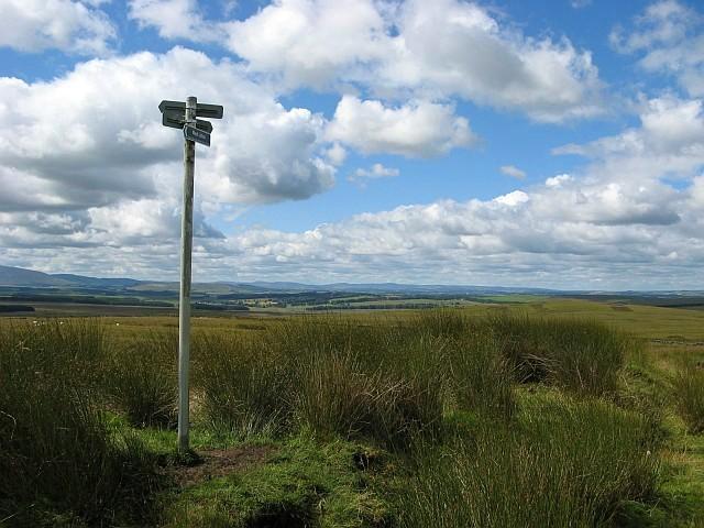 Signpost on footpath near Left Law