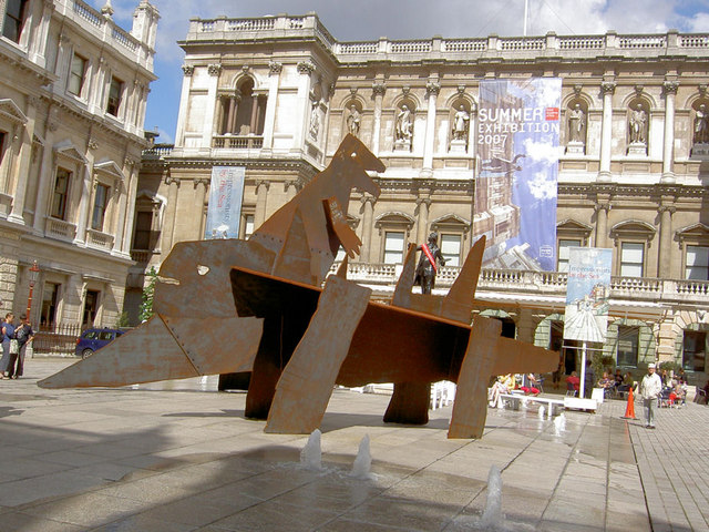 Sculpture in front of Royal Academy.
