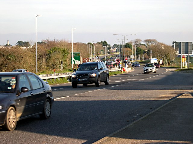 The A390 looking east towards Truro