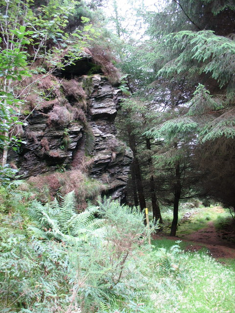 Crag where  the forest path negotiates a col