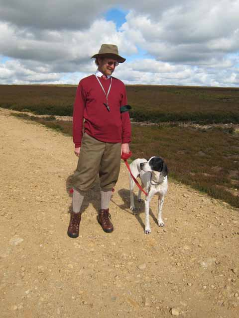 Pointer and owner on Bollihope Moor