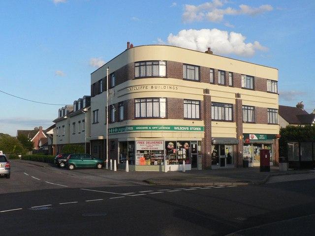 Barton on Sea: art deco row of shops