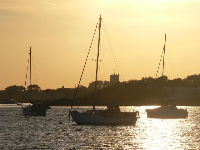 Christchurch Harbour in silhouette