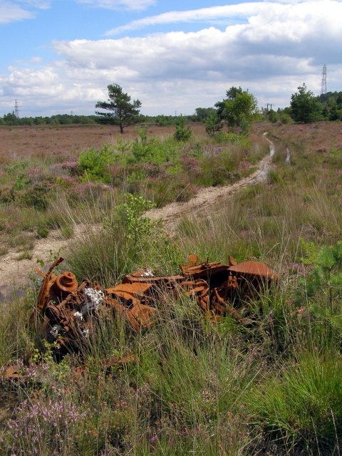 Rusting car remains, Town Common