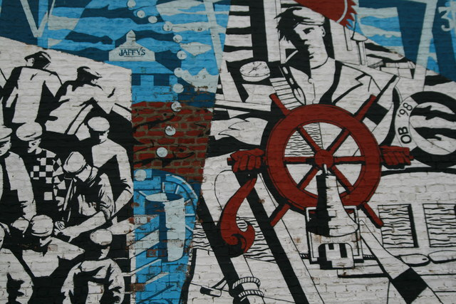 Mural on wall at Mallaig Harbour