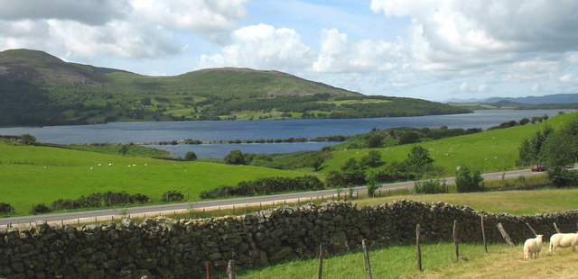 View across the A70(T) towards the former warm water lagoon of Llyn Trawsfynydd