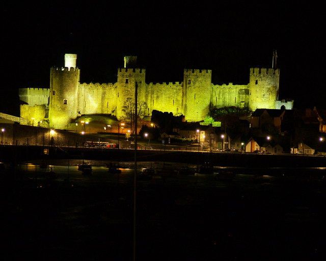 Conwy castle at night.