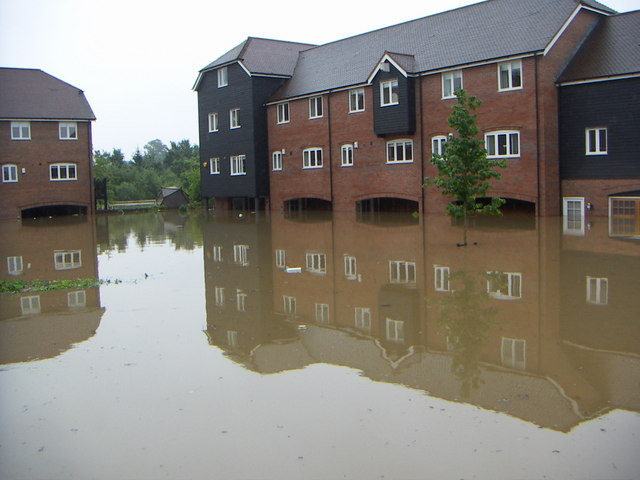 Flooded flats in Pershore