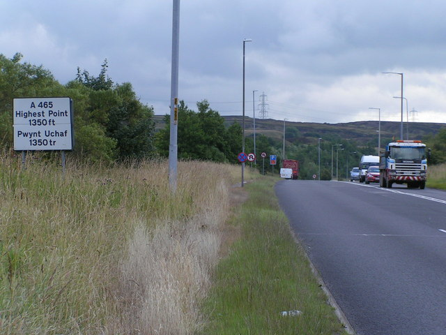 Highest point of the Heads of the Valleys Road