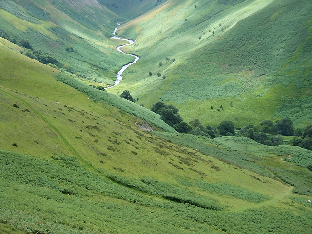 Bridleway descending to the Afon Doethie, Ceredigion