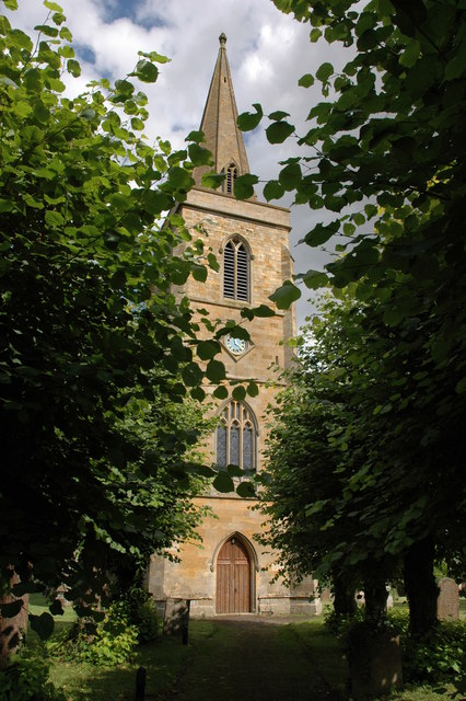 Tower and spire of Great Wolford Church