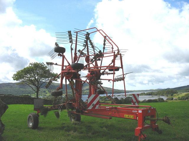 A Kuhn rotary rake at Tyddyn Felin