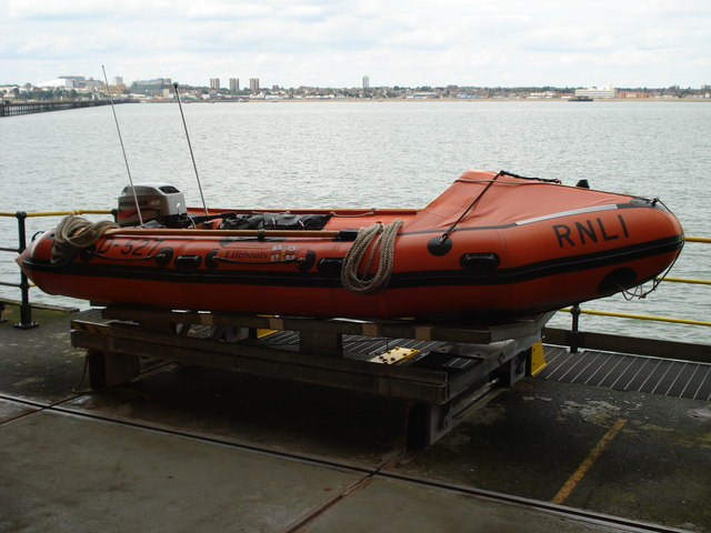 One of the lifeboats at the end of the pier