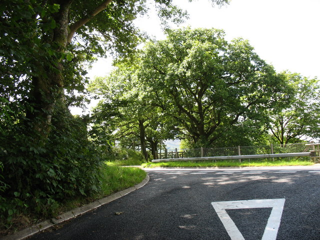 The junction of the Tyddyn Felin Farm road with the A470