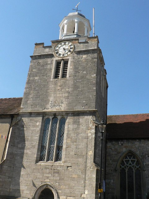 Lymington parish church: tower detail