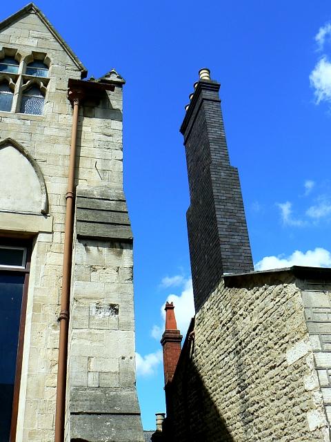 Looking up between the Railway Village museums, Swindon