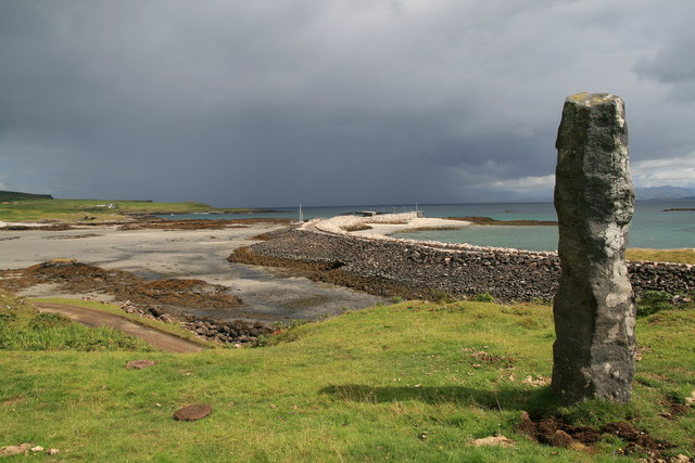 Eigg harbour and commemorative stone