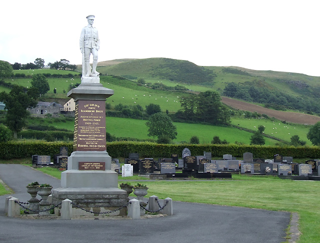 War Memorial and Elenydd Hills, Llanddewi-Brefi, Ceredigion
