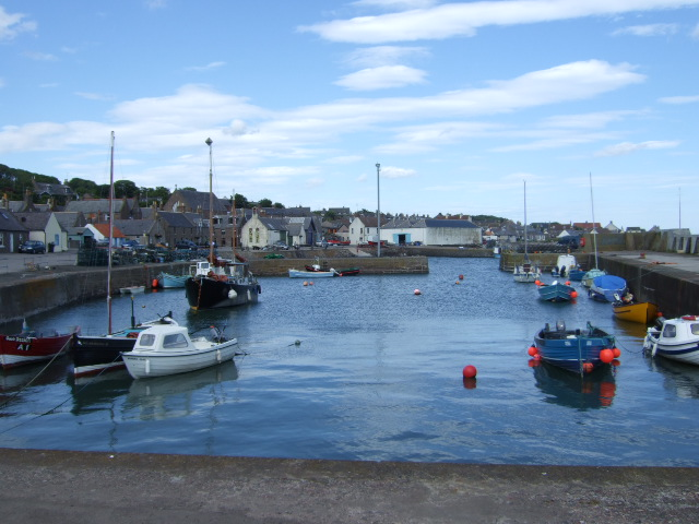 A view along the length of Johnshaven inner harbour