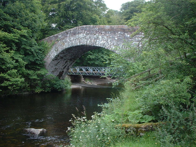 Old bridge over River Lowther with new bridge in background