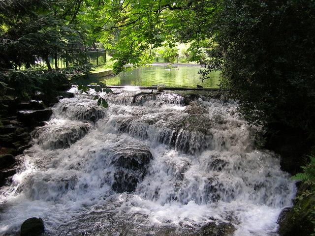 Cascade in the river Wandle, Grove Park, Carshalton