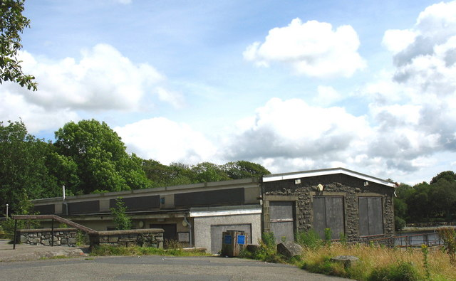 The boarded-up former Trawsfynydd Nuclear Power Station's Social and Sports Club