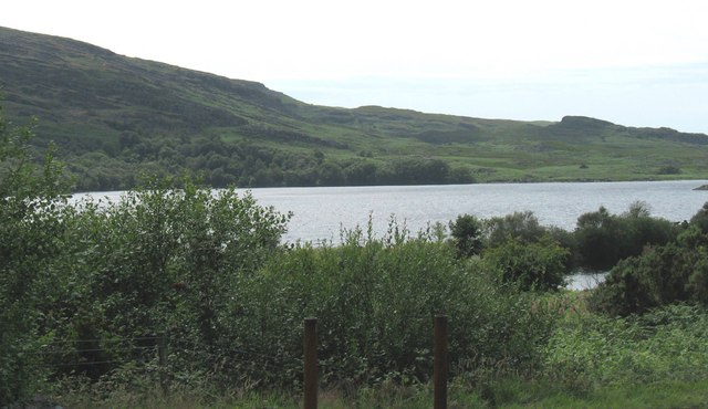 View across the NW corner of the lake towards Coed Rhygen