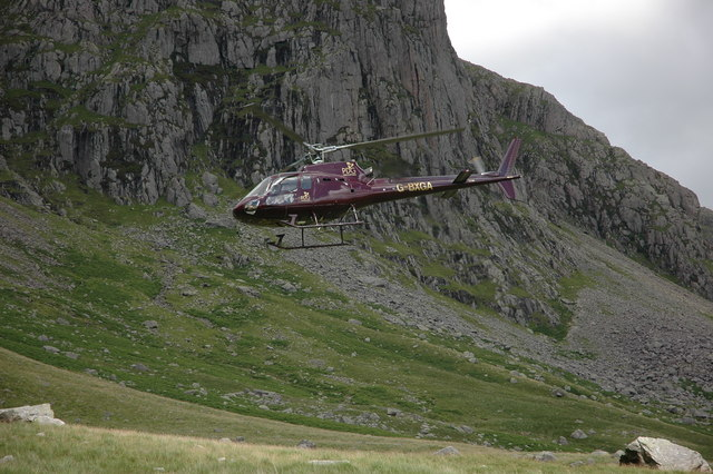 Helicopter below the Scafells