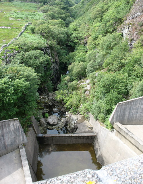View down from the dam to the re-emergent Afon Prysor