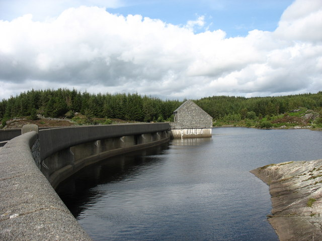 The inner wall of the dam