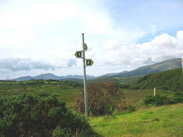 A public footpath hub on the moorland