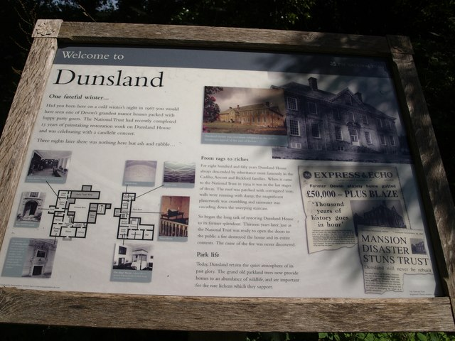 Information board at Dunsland House